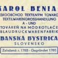"""dobová reklama """"modrotlače"""" Karola Beniača z obdobia vojnového Slovenského štátu"""