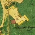 výrez z mapy Hornej Mičinej z druhej polovice 19. storočia, v strede záberu vidno zobrazený, dnes už neexistujúci kaštieľ