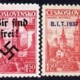 modifikácia známky z roku 1936 (pretlače: Protektorát Čechy a Morava, Sudety, B.I.T.1937, Slovenský štát 1939)