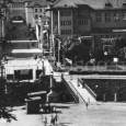 železobetónový most pod Národným domom nahradili po II. sv. vojne provizórnym dreveným mostom