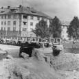 provizórny most pod Národným domom a začiatok regulácie koryta Hrona (rok 1958)