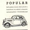 dobová reklama - predaj automobilov ŠKODA POPULAR