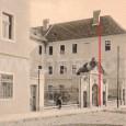 červená čiara na zábere označuje asanovanú časť budovy seminára