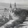 evanjelický kostol vo Zvolene na zábere vľavo (30-te roky 20. storočia)