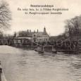 reklama na MARGIT krém a MARGIT mydlo na prednej strane pohľadnice zobrazujúcej parné a vaňové kúpele s pôvodným dreveným mostom k železničnej stanici Banská Bystrica mesto