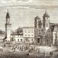Hlavné námestie v roku 1857 (na zábere vidno pôvodný vzhľad priečelia Kapitulského kostola, v roku 1880 upravené do súčasnej podoby)
