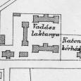 areál kasární na mape z roku 1901 - vojenská nemocnica je úplne vpravo (maď.: katonai kórház)