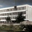 budova učiteľského ústavu na kolorovanom zábere z roku 1936